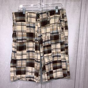 American Eagle Outfitters Plaid Longer Brown Short